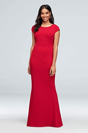 2479eda118e Image Unavailable. Image not available for. Color  Deep-V Bow Back Cap-Sleeve  Crepe Sheath Gown ...