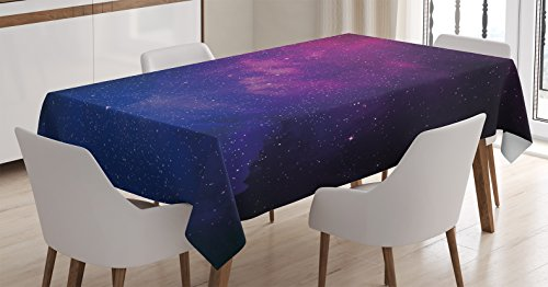 Ambesonne Galaxy Tablecloth, Pink and Blue Nebula in Starry Night Sky Space Science World Astronomy Print, Dining Room Kitchen Rectangular Table Cover, 52