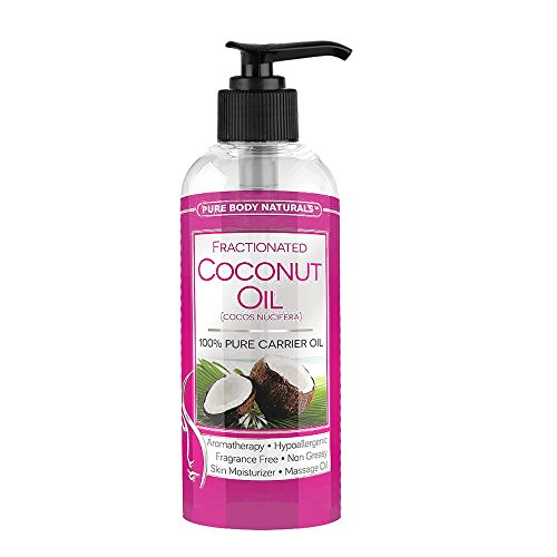 Pure Body Naturals Premium Fractionated Fine Coconut Oil for Hair, Skin & Nails, 16 Fl. Oz.