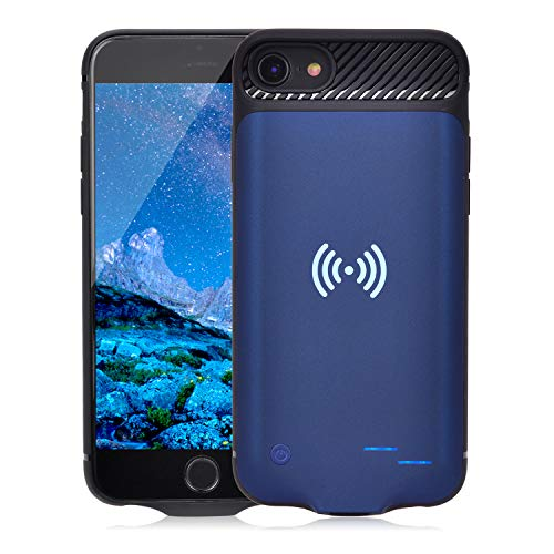 Qi Battery Case for iPhone 6 6S 7 8, 3800mAh Portable Wireless Charging Battery Extra Battery External Battery Case Battery Rechargeable Power Bank Battery Case for iPhone 8/7 / 6S / 6 (Blue) ()