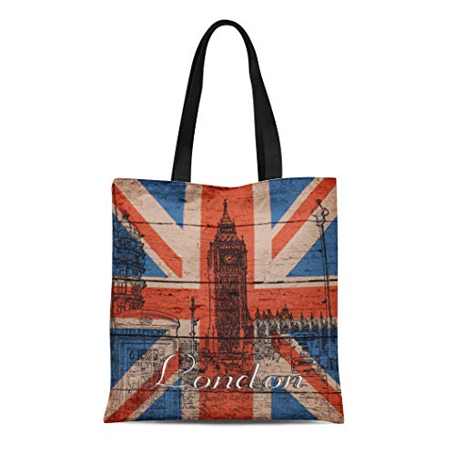 Semtomn Cotton Line Canvas Tote Bag Union Awesome Cool Old Wood U K Jack Reusable Handbag Shoulder Grocery Shopping Bags