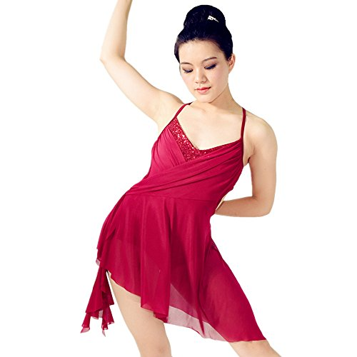 [MiDee Camisole V-neck Strapless High-low Lyrical Dress Latin Dance Costume (MA, Wine)] (Dance Costumes Ma)