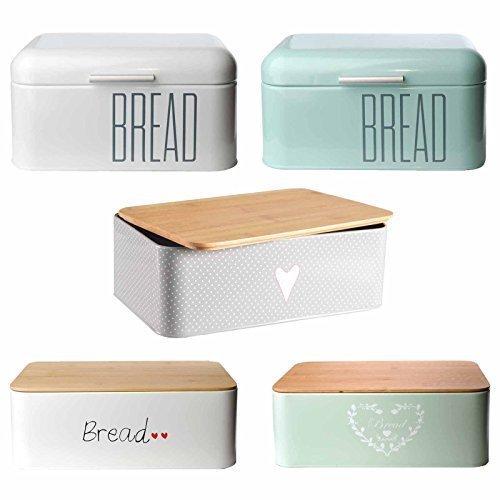 Brotkasten Brotbox Metall Bambus Brotbehälter mit Deckel Bambusdeckel Brot Aufbewahrung Box Kiste (Bambusdeckel-Grau)