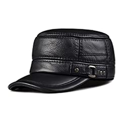 LETHMIK hats collection.Vintage leather military cadet cap.Made of genuine cowhide leather.The buckle is adjustable so you can keep it as loose or tight as you want.Leather Belt and metal buckle decoration,practical and fashion design more re...