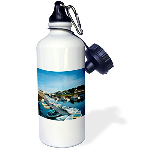 3dRose Danita Delimont - Maine - Maine, Ogunquit, Perkins Cove, boat harbor - 21 oz Sports Water Bottle - Row Perkins