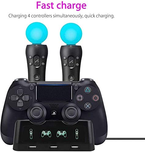 4 in 1 PS4 Controller Charger[Upgraded Version], Quad Charging Staion, 3 USB Interface Charging Desk for Sony Playstation 4/PS4/PS4 Pro/PS4 Slim/PS Move with LED Indicator 41yDXvWUGUL