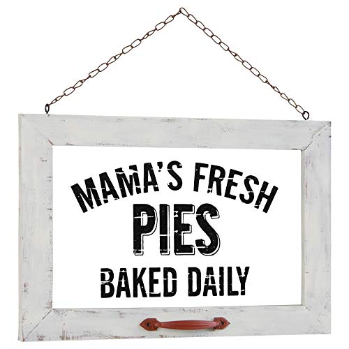OHIO WHOLESALE, INC. Pie Advertising Window Distressed White 16 x 11 Wood and Glass Decorative Plaque