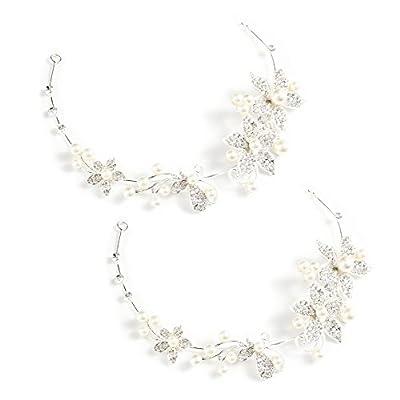 yueton Pack of 2 Women Crystal Rhinestone Pearls Wedding Headband New Fashion Hair Accessories Bride Hair Jewelry