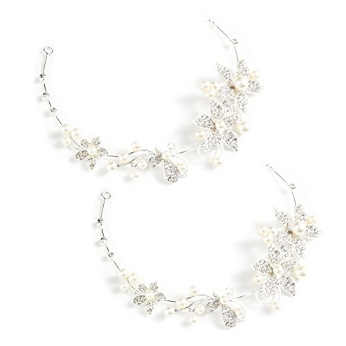 yueton Pack of 2 Women Crystal Rhinestone Pearls Wedding Headband New Fashion Hair Accessories Bride Hair Jewelry (bendable)