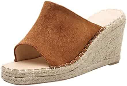 62bd42ee0 Goddessvan High-Heeled Slippers Female Summer Women's Suede Open Toe  Slip-on Wedge Weave