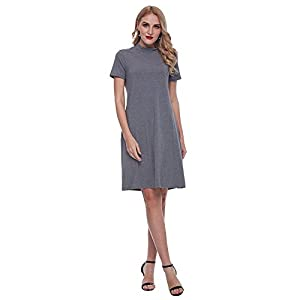 GAMISS Women's A-Line Swing Loose T-Shirt Dress Short Sleeve Casual Dress