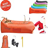 GADUGE Outdoor Inflatable Lounger & Pool Chair, Hangout Sofa & Inflatable Couch for Bedroom, Floats on Water - Includes Pockets, Comfy Headrest, Bottle Opener, Stake & Bag(Orange)