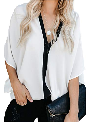 Dokotoo Womens Plus Size Fashion Ladies Elegant Winter Color Block V Neck Short Batwing 3 4 Sleeve Loose Plain Tunics Blouses Solid Tops and T Shirts White XX-Large