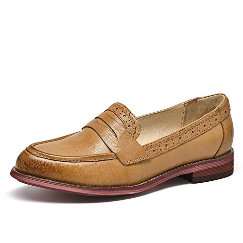 Beau Today Penny Loafers Women Leather Shoes Slip-On Moccasin (8.5, Brown) ()