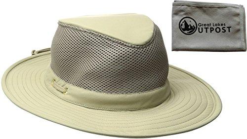 (Tilley Endurables Airflo LTM8 Nylamtium Khaki/Olive Hat Bundle with Cloth (7 1/8))
