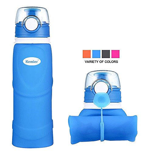 Kemier Collapsible Silicone Water Bottles-750ML,Medical Grade,BPA Free,FDA Approved.Can Roll Up,26oz,Leak Proof Foldable Sports & Outdoor Water Bottles (Blue)