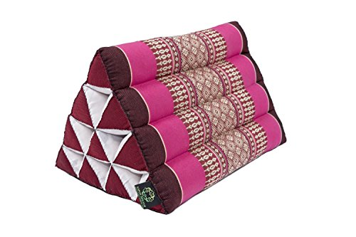 Kapok Dreams Thai Triangle Pillow 13''x8'', Triangular Cushion from Thailand (medium size), 100% Kapok-Stuffing, Berry Colors Red Pink by Kapok Dreams