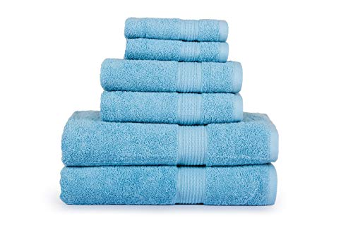 CASA LINO Hydro Basics Fade-Resistant 6-Piece Cotton Towel Set, 100% Cotton terry bathroom set, Soft, Absorbent, Machine Washable, Quick Dry (blue) (Casa Bathroom Light)