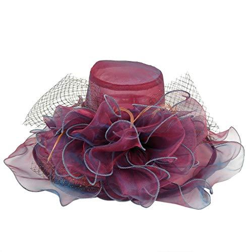 Weiliru Women Kentucky Derby Church Beach Fascinators Hat Wide Floral Brim Flat Hat with Bowknot But I Vintage Bonnet