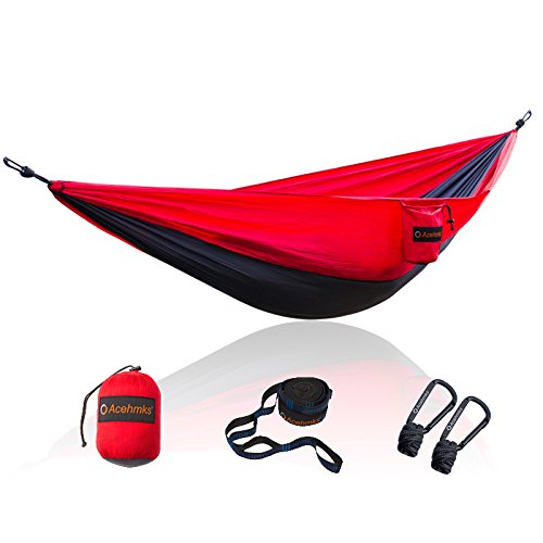 Acehmks Hammock Portable Folding Ultralight Parachute Nylon Camping Hammocks Garden Swing with 2pcs Strong Tree Straps (Red) by Acehmks