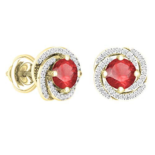Dazzlingrock Collection 18K 6 MM Each Round Ruby & White Diamond Ladies Halo Style Stud Earrings, Yellow Gold (Ruby And Diamond Earrings 18k White Gold)