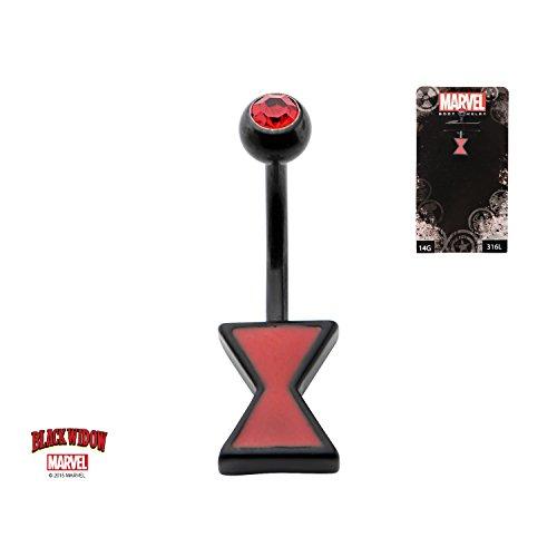 Black Widow Hourglass (Black PVD Navel with Fixed Black Widow Hour Glass)