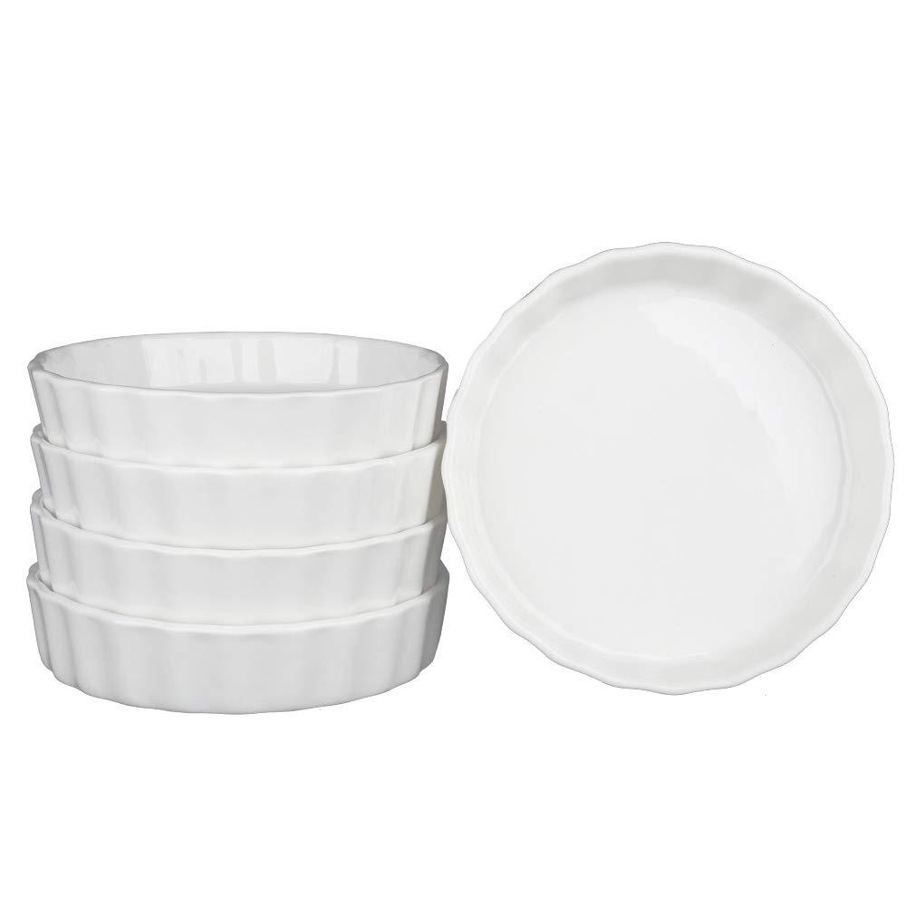 SZUAH Porcelain Ramekins, Baking Ramekins Set of 5, 5oz (4.9 INCH) for Souffle, Creme Brulee, Appetizer, Custard, Pudding and Ice Cream. by SZUAH