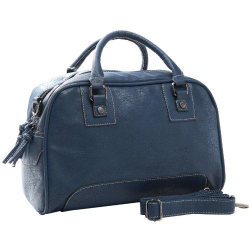 GLADYS Classic Navy Blue Bowling Style Satchel Handbag w/ Shoulder Strap