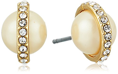 Carolee Majestic Pearl Round Pearl with Pave Stud (Carolee Round Earrings)