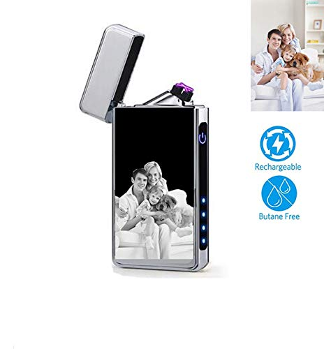 (Lighter, Electric Arc Lighter USB Rechargeable Windproof Flameless Lighter with Battery Indicator(Silver F))