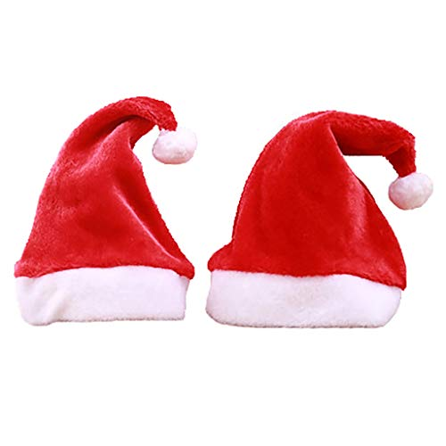 2 Pcs Santa Hat Plush Christmas Hat with Ball for Children, Classic Red Velvet and White Cuffs Headdress Christmas Tree Decor for Christmas Party and New Year ()