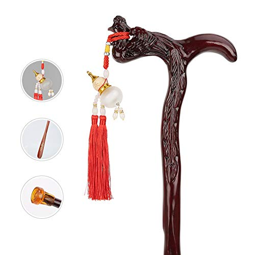 Solid Wooden Walking Sticks for Elderly and Disabled, Hand Carved Portable Cane as Gifts for Women, Dark Crested Head (Size : 90cm)