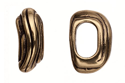 6pcs Braided leather bead, antique copper-plated, wave lined patterned irregular mold slider beads ()