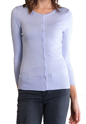 Classic Vintage Cardigan (Hey Viv Classic Button up Cardigan Fitted Sweater - Retro Vintage 50s Style by (Large, Lilac))