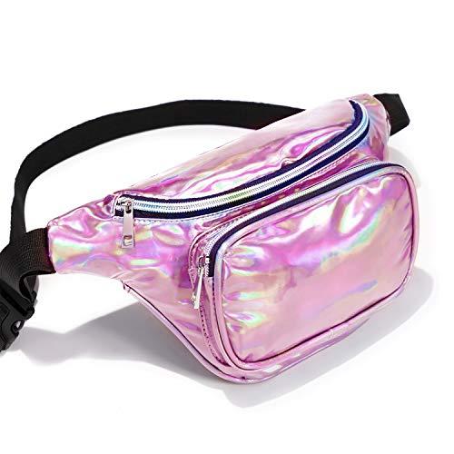 Packism Fanny Pack, Holographic Fanny Pack for Men Women Waterproof Waist Pack Bag for Festival Travel Rave Party Belt Bag Neon Iridescent Hip Bum Bag, Rose Pink
