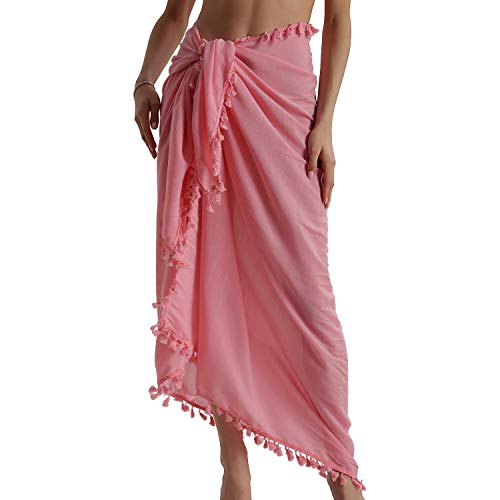 Eicolorte Beach Sarong Pareo for Women Cotton Bikini Cover Up Swimsuit Long Wrap Skirt - Skirt Cotton Pink