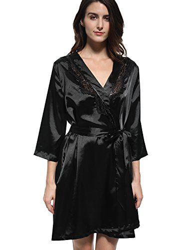 Mobisi Women's Black Satin Kimono Robe V Neck Half Sleeve Lace Trim (Lace Trim Japan)