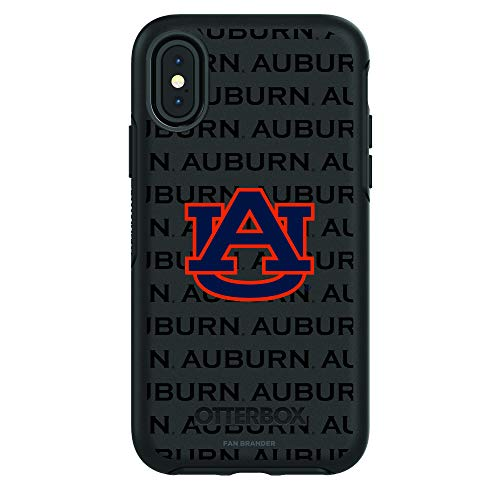 Fan Brander NCAA Black Phone case with School Logo and Repeating Wordmark Design, Compatible with Apple iPhone XR with OtterBox Symmetry Series (Auburn Tigers)