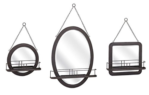 3 Piece Black Hand Finished Accent Shaving Mirror Set with Wire Shelves by CC Home Furnishings