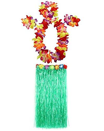 (Yansanido 31.4'' Hawaiian Luau Hula Skirts - Grass Hibiscus Flowers Birthday Tropical Party Girl's Elastic Hawaiian Hula Dancer Grass Skirt With flower costume set)
