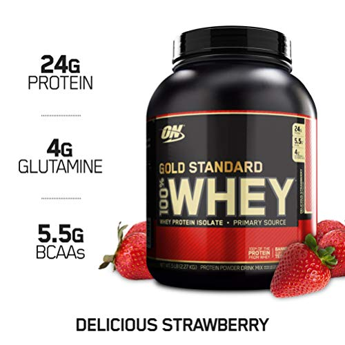(OPTIMUM NUTRITION GOLD STANDARD 100% Whey Protein Powder, Delicious Strawberry, 5 Pound)