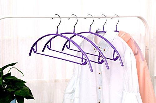 Deluxe Hanger Clothes Hanger VANORIG Durable High Manganese Steel Hangers PVC Resin Coating Clothing Hanger ,Pack of 5 (Purple)