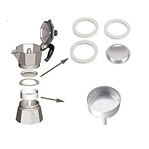 Podoy 3-Cup Funnel for Use In Bialetti Moka Express with Aluminium Gasket Filter Espresso Makers Replacement part (2 set)