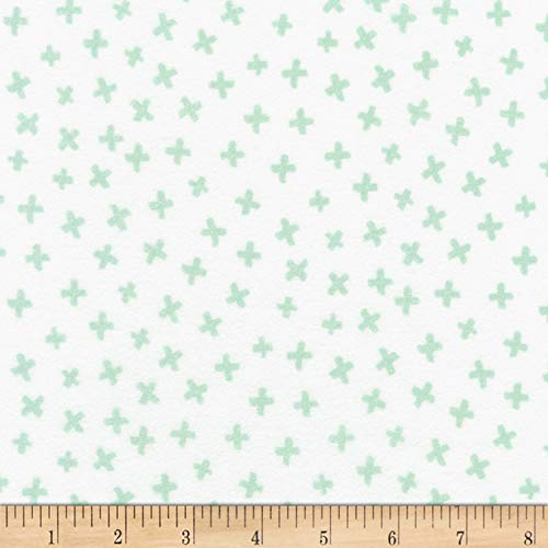 Robert Kaufman Penned Pals Flannel Fabric, Mint, Fabric By The Yard