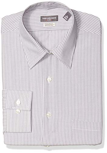 Dress Shirt Stripe (Van Heusen Men's Dress Shirts Flex Collar Regular Fit Stripe, Flint, 18