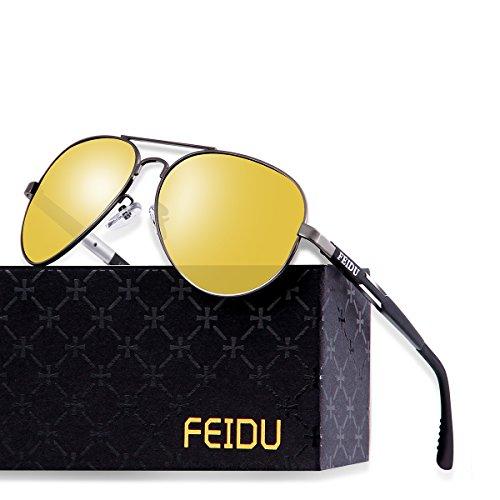 FEIDU Mens Polarized Aviator Sunglasses Metal Frame Unisex Sun Glasses FD9001 (Yellow/Gun, 2.28)