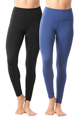 90 Degree By Reflex High Waist Power Flex Legging – Tummy Control - Black and Winter Blue 2 Pack - XS