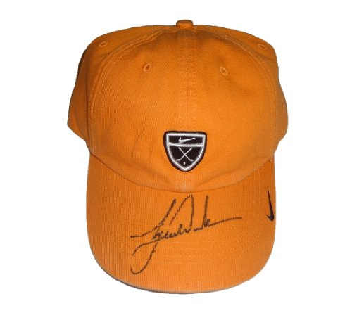 Tiger Woods Autographed Orange Nike Hat W/PROOF, Picture of Tiger Signing For Us, Masters, US Open, PGA Championship, The Open Championship, Stanford Cardinal