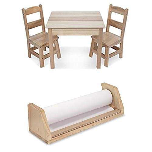 Bundle Includes 2 Items - Melissa & Doug Solid Wood Table and 2 Chairs Set - Light Finish Furniture for Playroom and Melissa & Doug Wooden Tabletop Paper Roll Dispenser ()