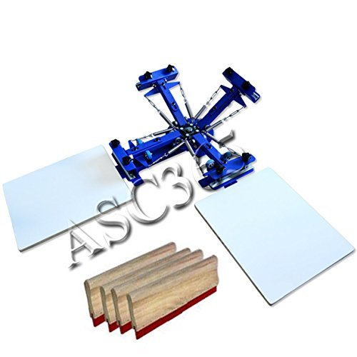 4 Color 2 Station Screen Printing Machine Single Rotating Screen Printing Press with Free Squeegees by Screen Printing Equipment